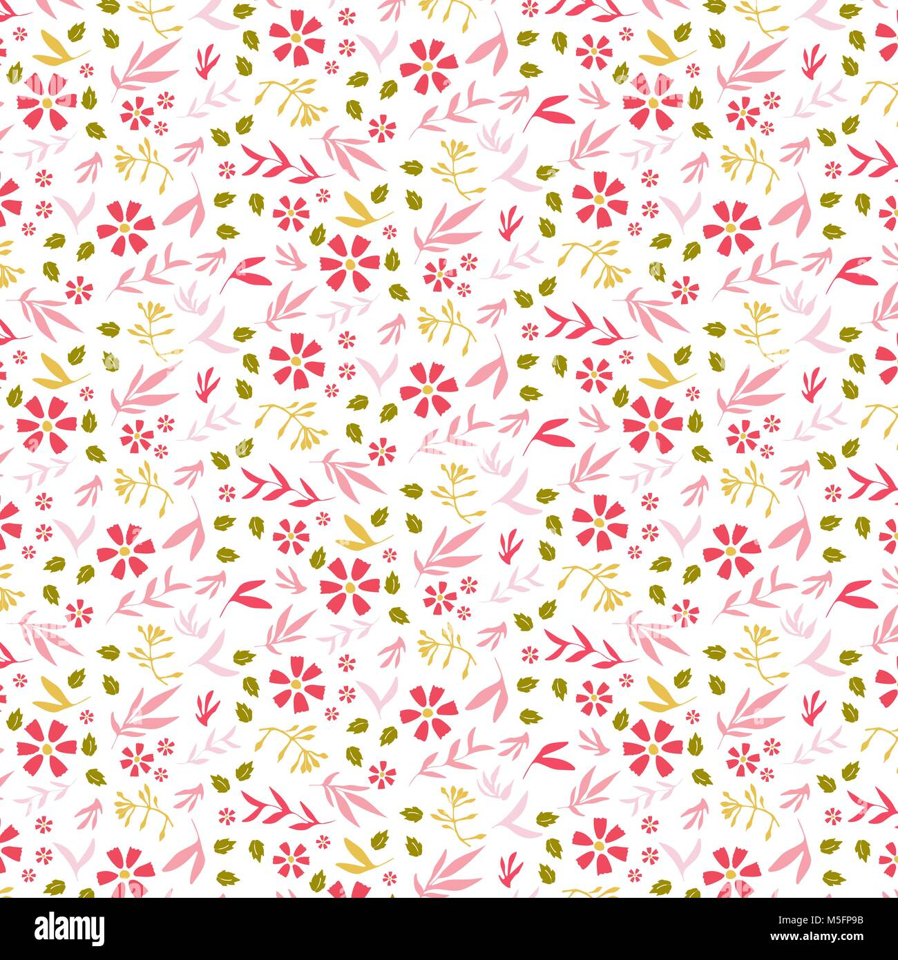 Pink Flowers Background Flower Colorful Doodles Hand Drawn Stock