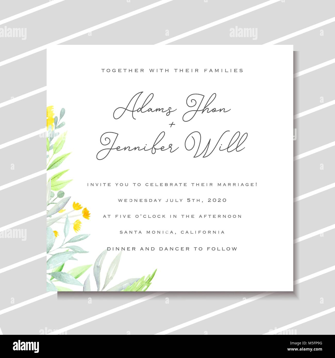 Wedding invitation template with yellow watercolor flowers and green ...