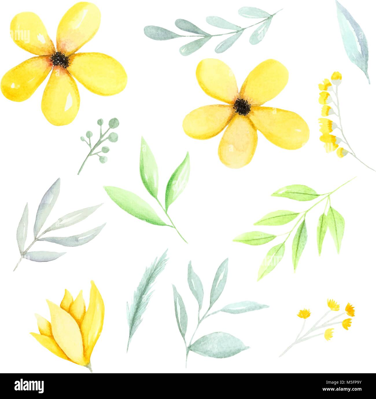 Yellow Watercolor Botanical Elements Yellow Flowers Green Leaves