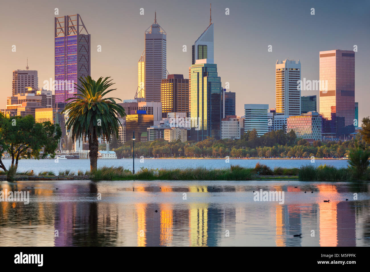 Perth. Cityscape image of Perth skyline, Australia during sunset. - Stock Image