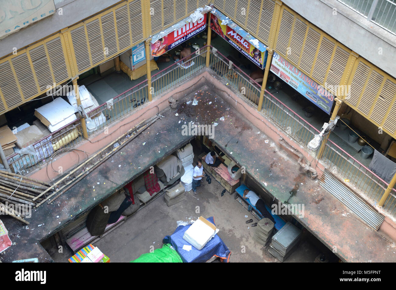 courtyard in old building, Kolkata, West Bengal, India, Asia - Stock Image