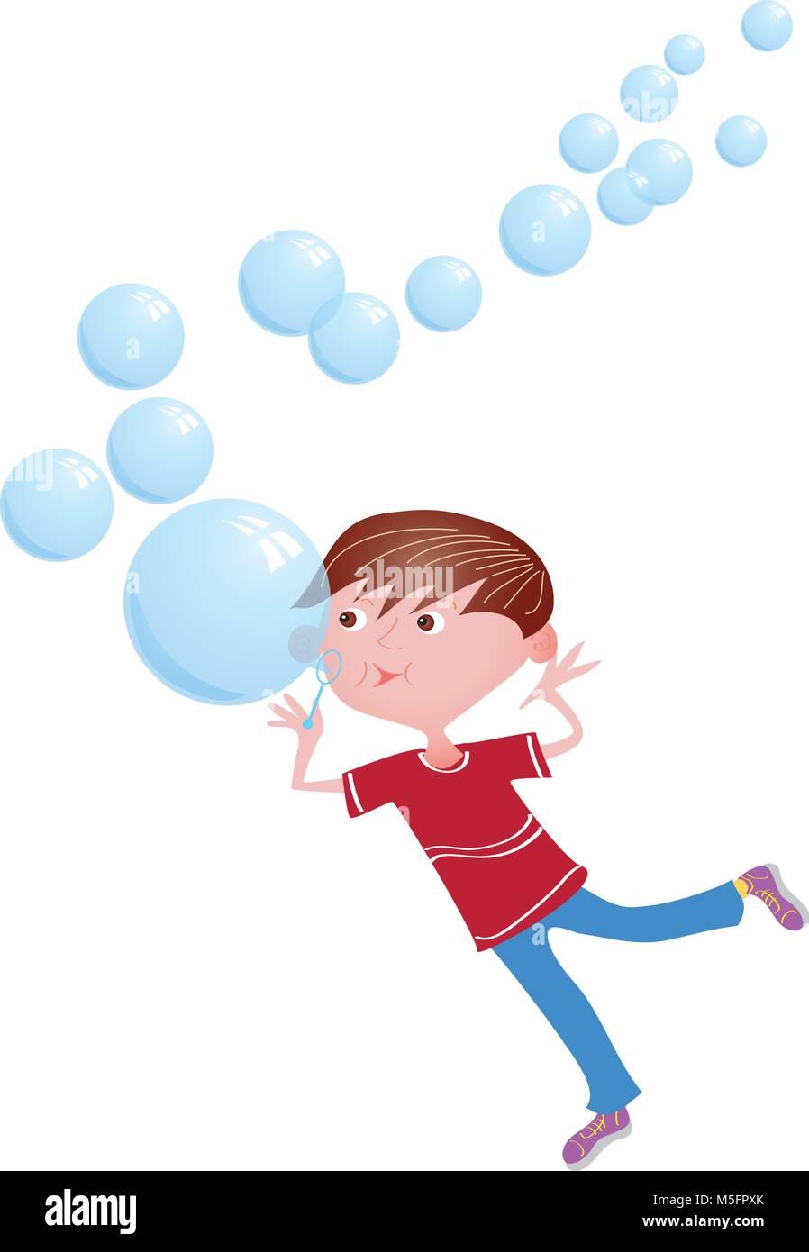 A cartoon boy blowing bubbles - Stock Vector