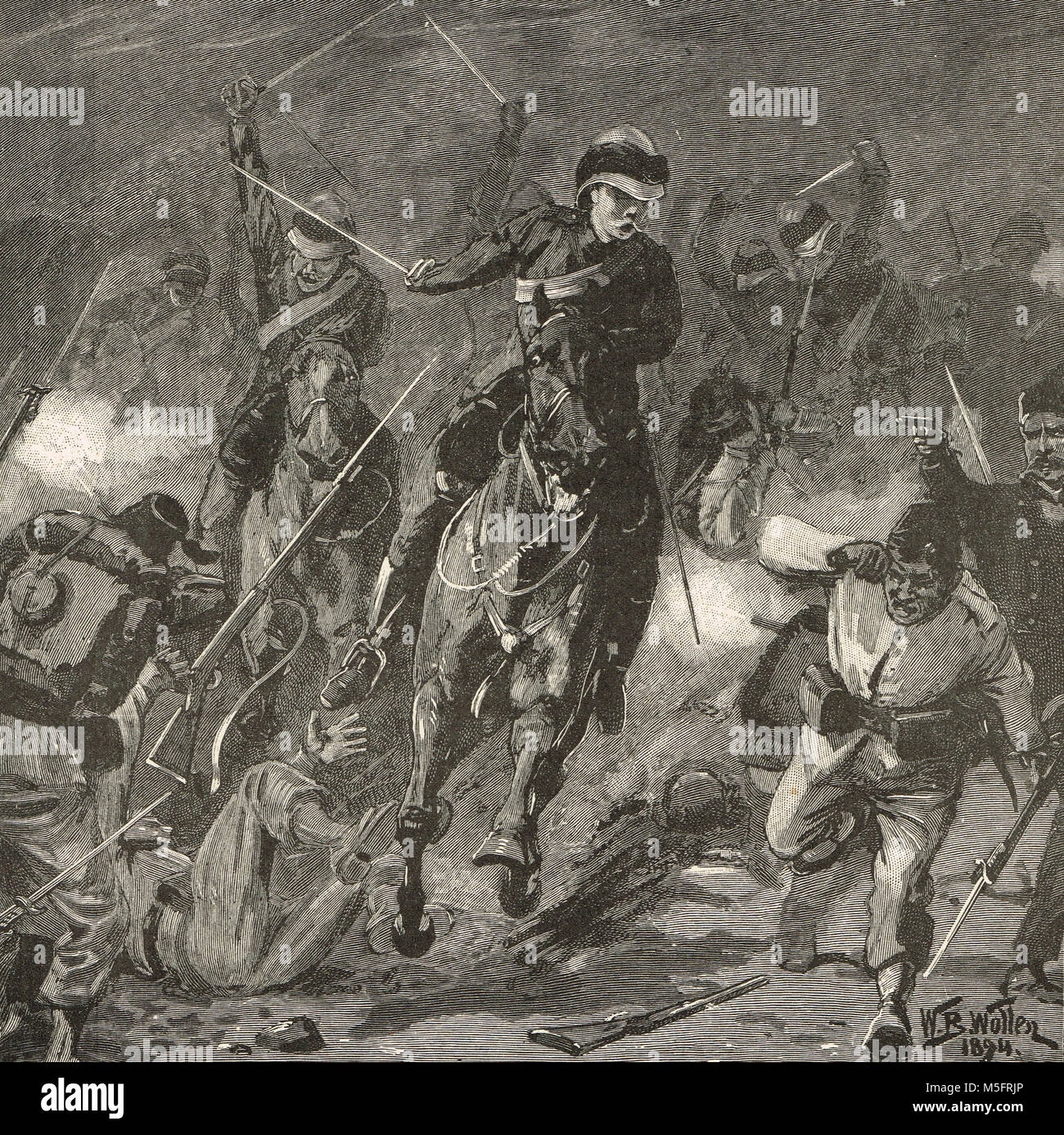 Midnight charge, Battle of Kassassin Lock, Sweet Water Canal, 1882 - Stock Image