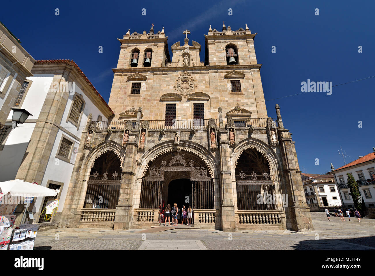 Main facade of medieval cathedral - Stock Image