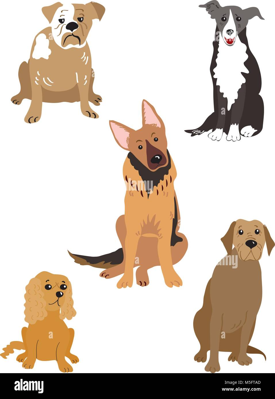 A cartoon illustration of five different dogs,including a bulldog,a collie, a german shepherd,a cocker spaniel,and - Stock Vector