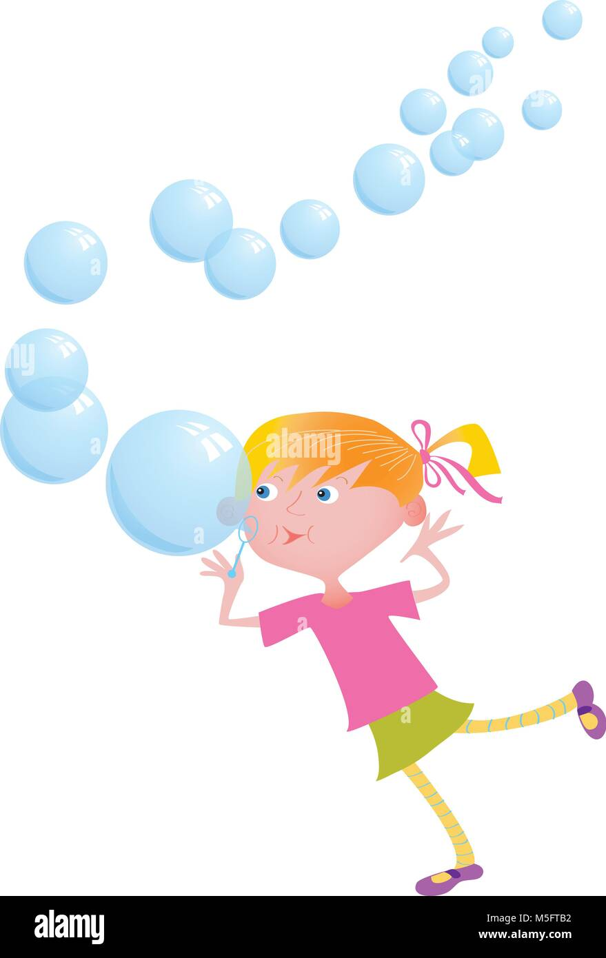 A cartoon girl blowing colorful bubbles - Stock Vector