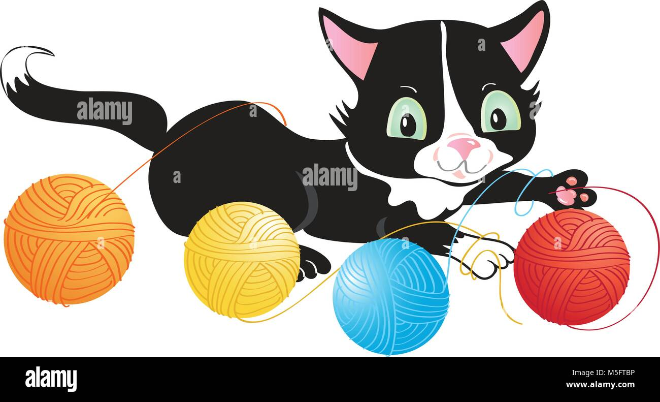 A cartoon cuddly kitten playing with balls of wool - Stock Vector