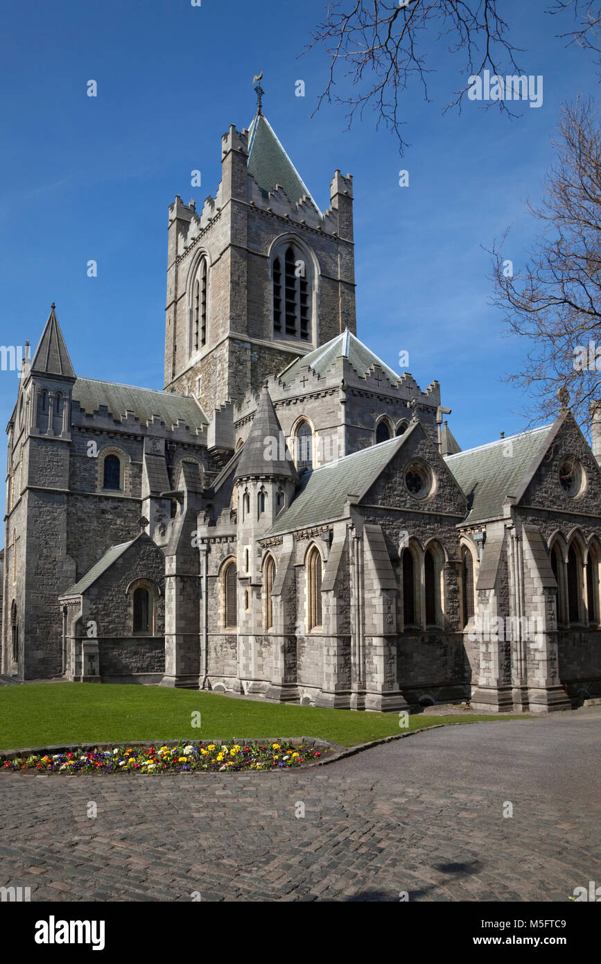 19th Century, Gothic/Romanesque Christ Church Cathedral next to Wood Quay at the end of Lord Edward Street, Dublin - Stock Image