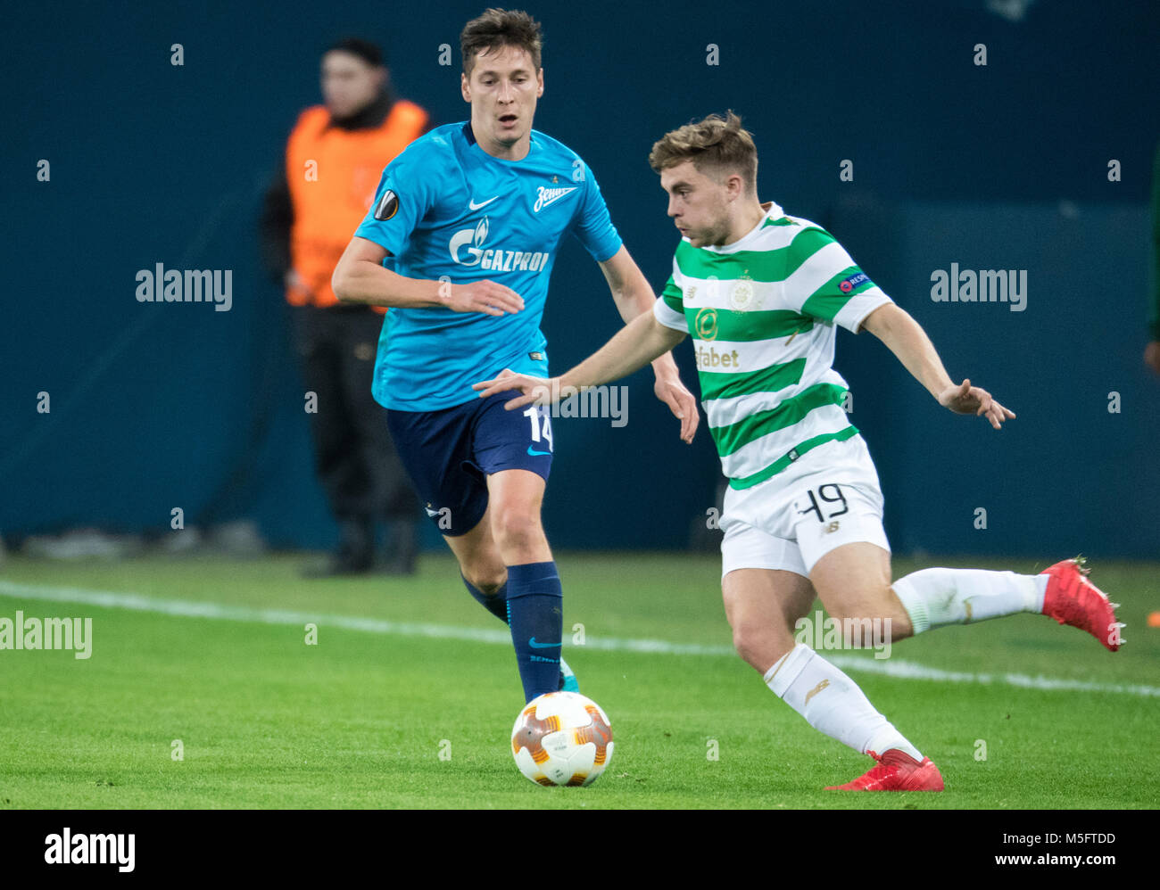 ST PETERSBURG, RUSSIA – FEBRUARY 22, 2018. UEFA Europa League, Round of 32: Zenit St Petersburg 3 - 0 Celtic F.C. - Stock Image