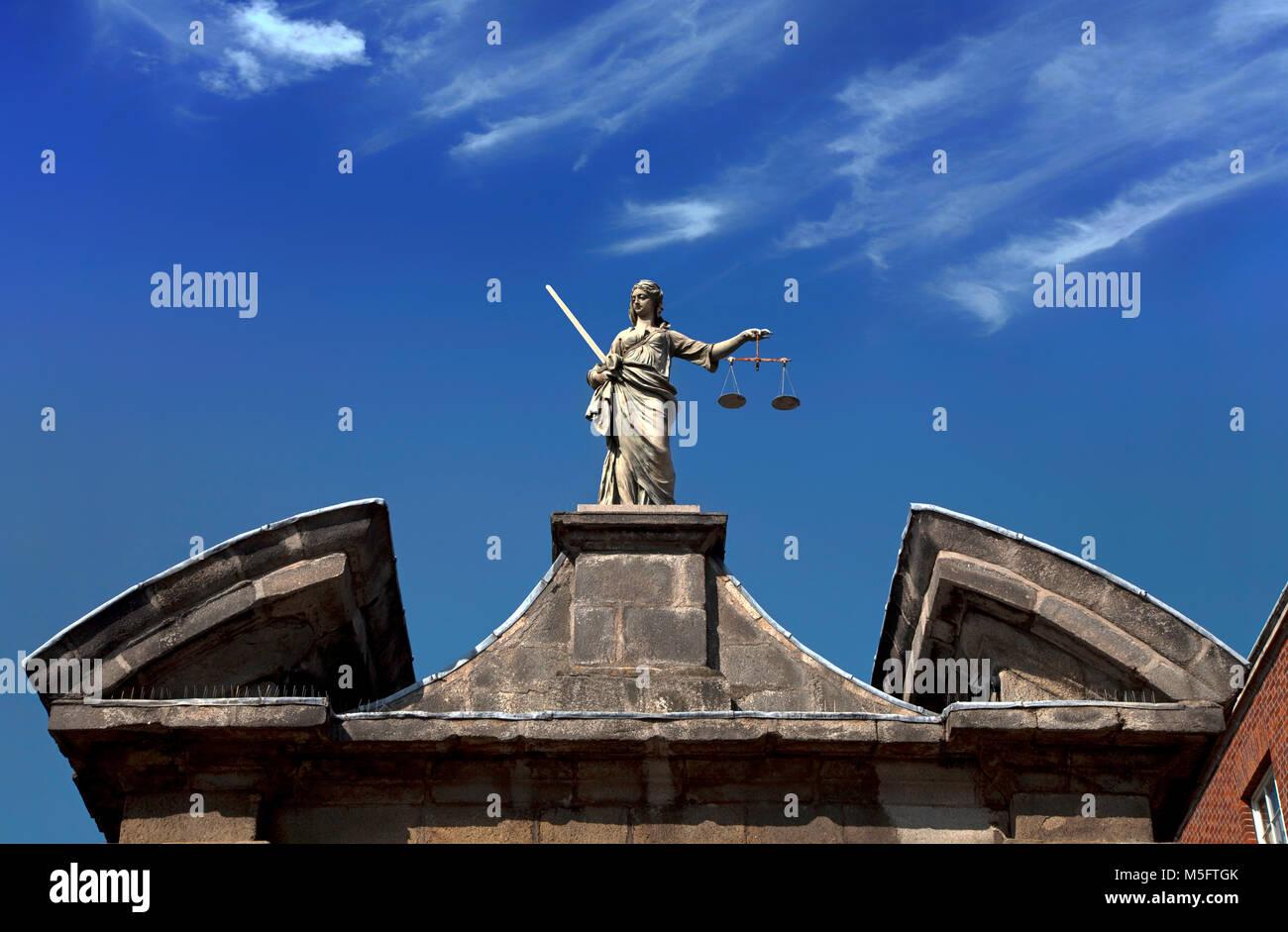 Sculpture of  (Scales of) Justice aka Iustitia, Justitia or Lady Justice (Latin: Iustitia, the Roman goddess of - Stock Image