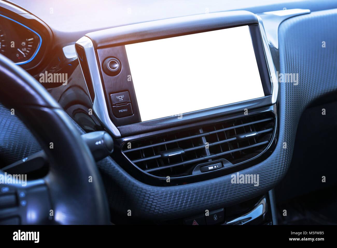 Car navigation system display isoalted for mockup. - Stock Image