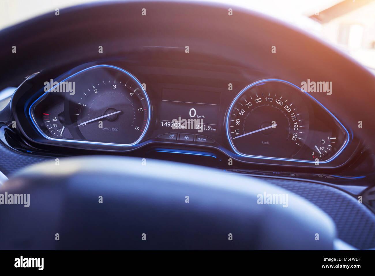 car speedometer with blue led light modern car interior stock photo 175526219 alamy. Black Bedroom Furniture Sets. Home Design Ideas