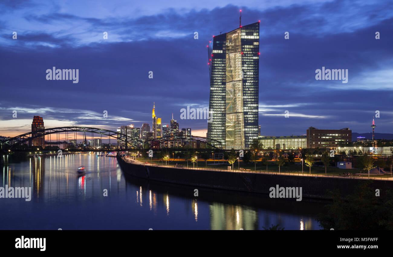 Skyline mit EZB, Frankfurt, Hessen, Deutschland, Europa - Stock Image
