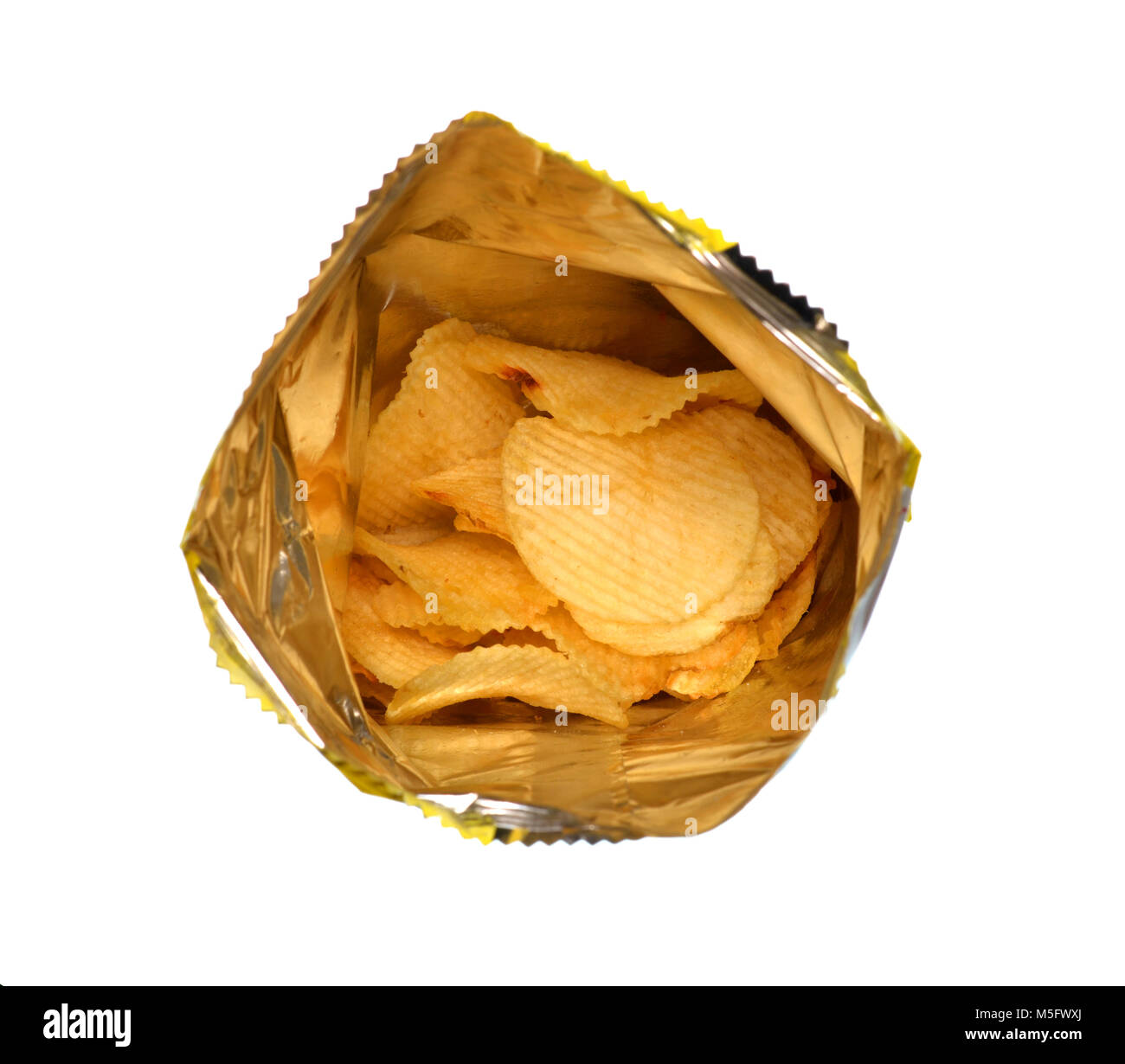 Isolate bag of potato chip, a closeup photo image of heap of fried potato chips in a plastic back isolate on white - Stock Image