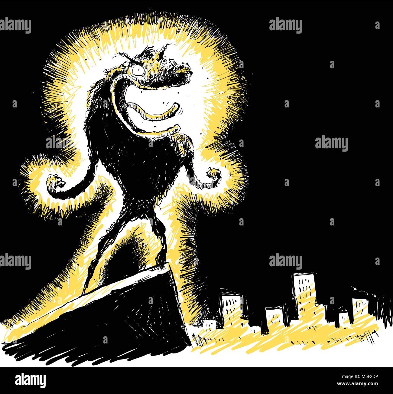 A cartoon werewolf howls above the city. - Stock Image