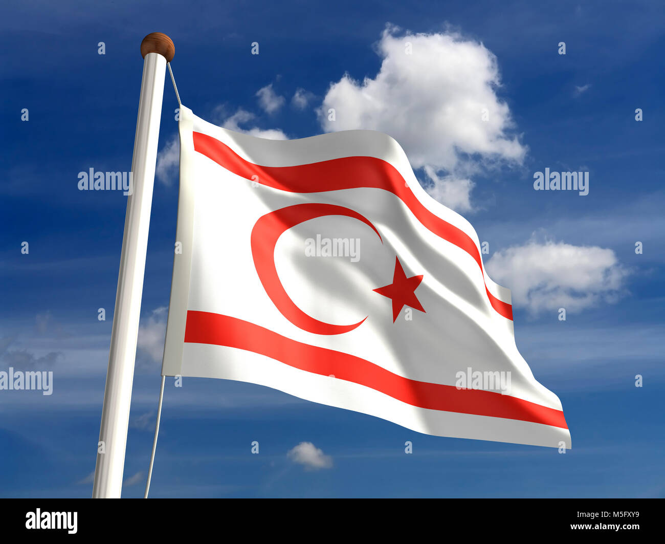 North Cyprus flag (with clipping path) - Stock Image