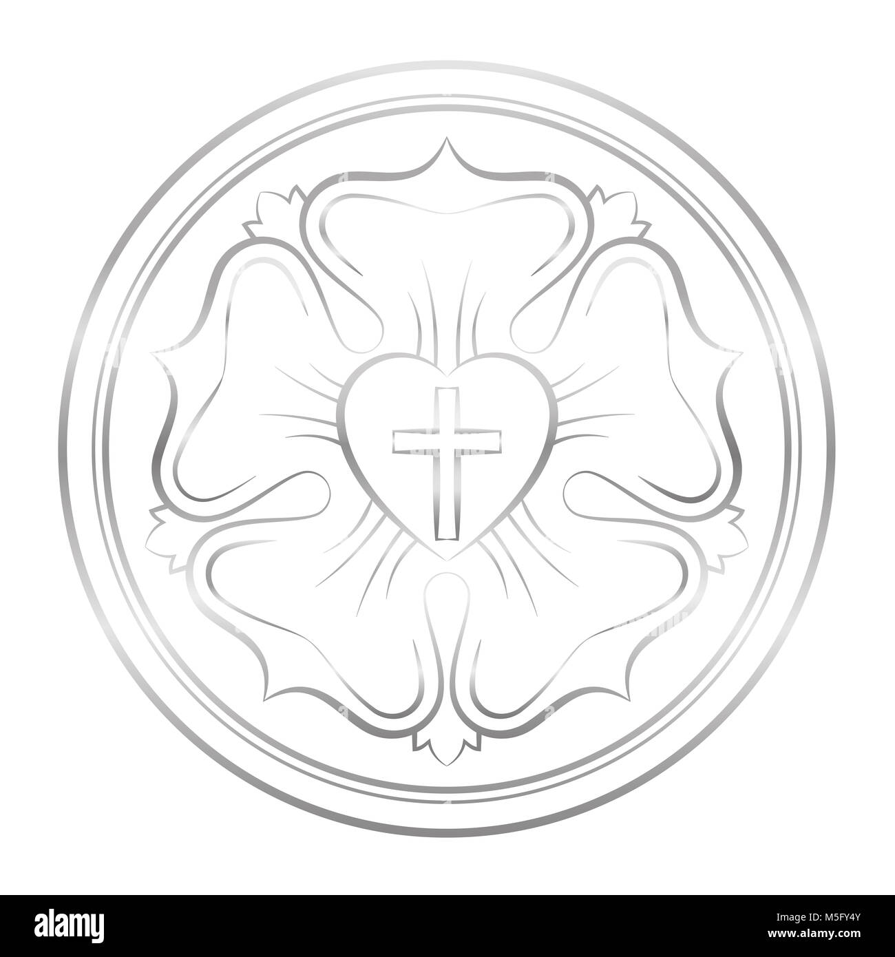 Luther symbol. Symbol of Lutheranism and protestants, consisting of a cross, a heart, a single rose and a ring  - Stock Image