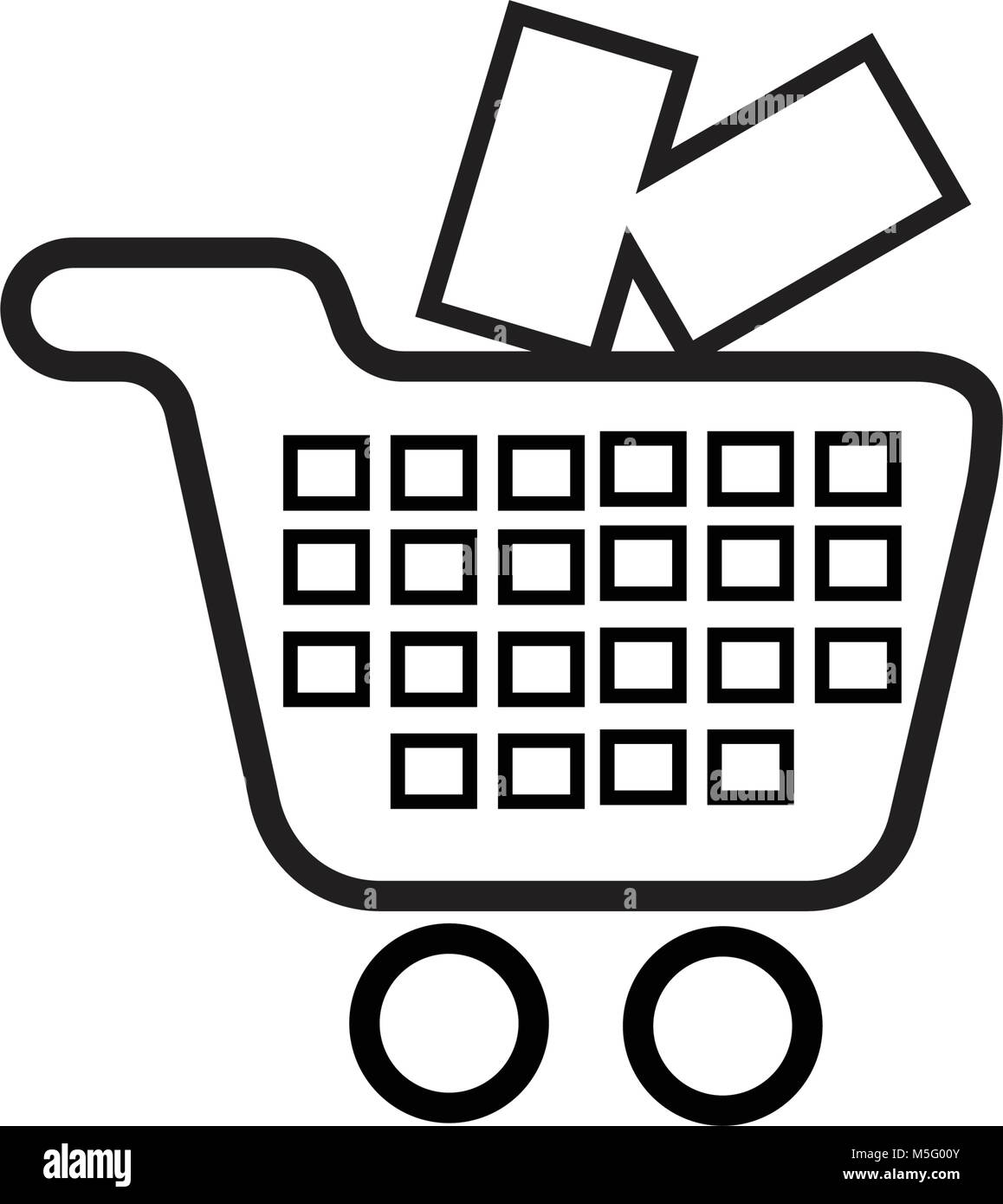 Shopping icon line outline style isolated on white