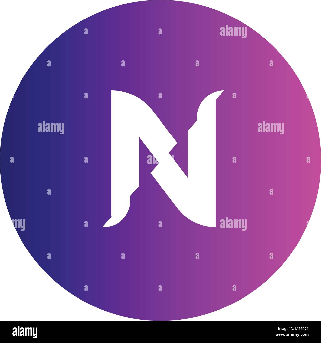 N logo vector font. Futuristic outline letter. High quality line single sign. Elegant creative white symbol on colorful Stock Vector