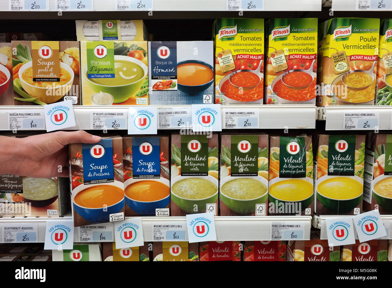 Soup packings in a Super U Hypermarket - Stock Image