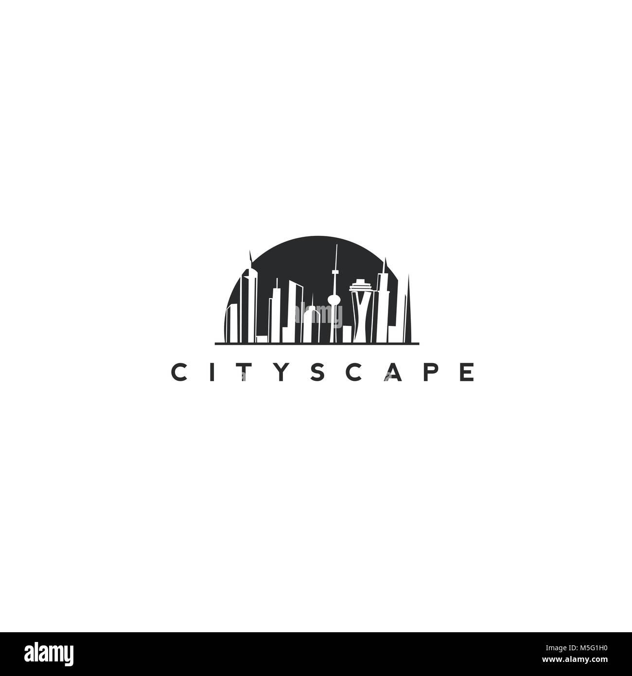 Cityscape Building Line art Vector Illustration design - Stock Image