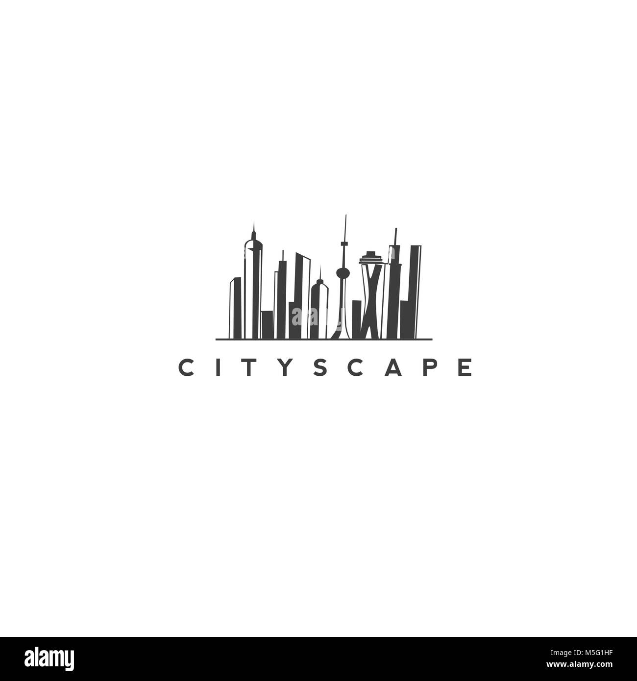 Modern cityscape vector design. - Stock Image