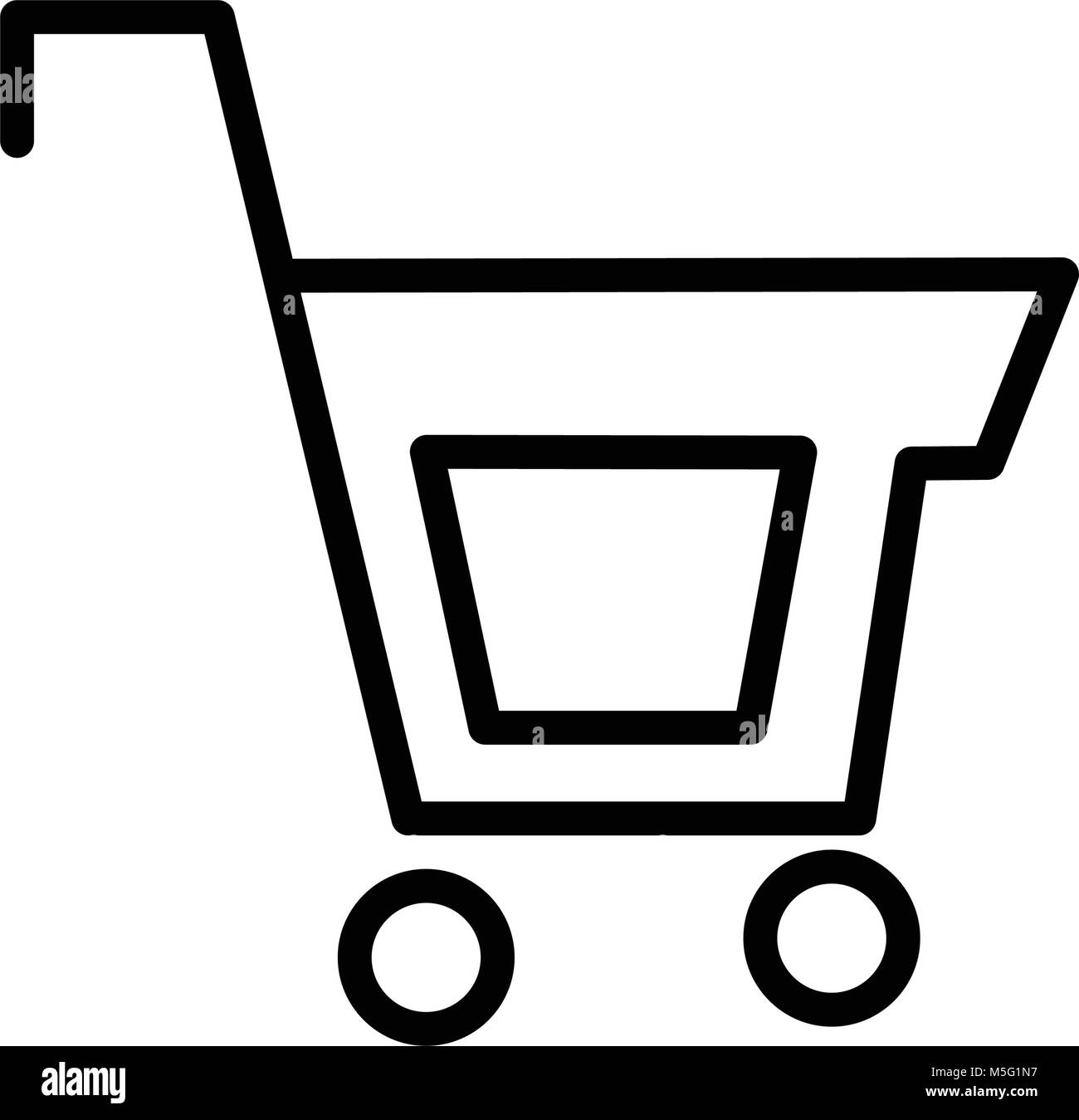 Shopping icon line outline style isolated on white background, the illustration is flat, vector, pixel perfect for - Stock Image