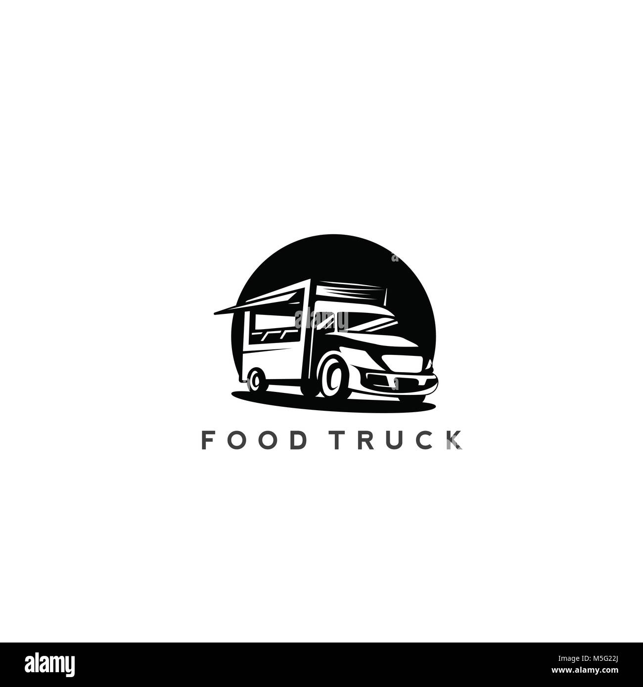 minimal black color food truck logo vector. - Stock Image