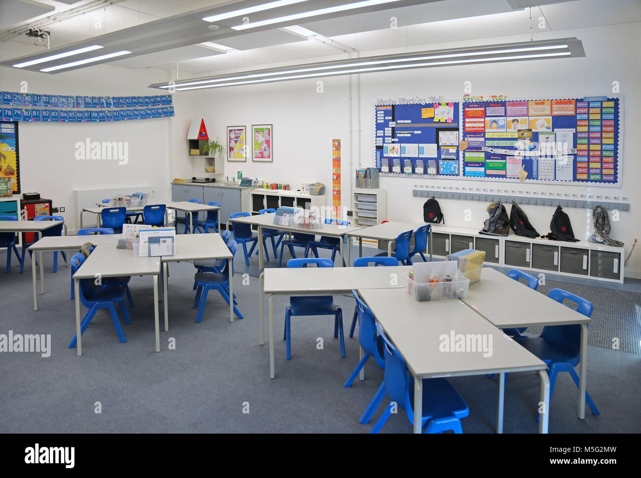 Classroom In A Newly Built London Primary School. Shows Desks Arranged Into  Groups.