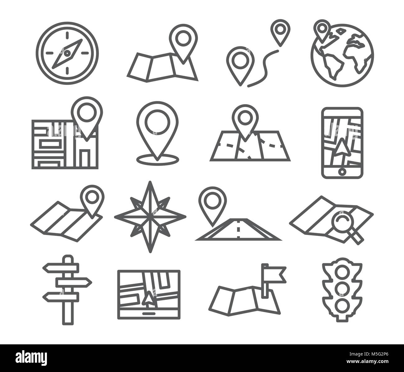Navigation and Map line icons - Stock Image