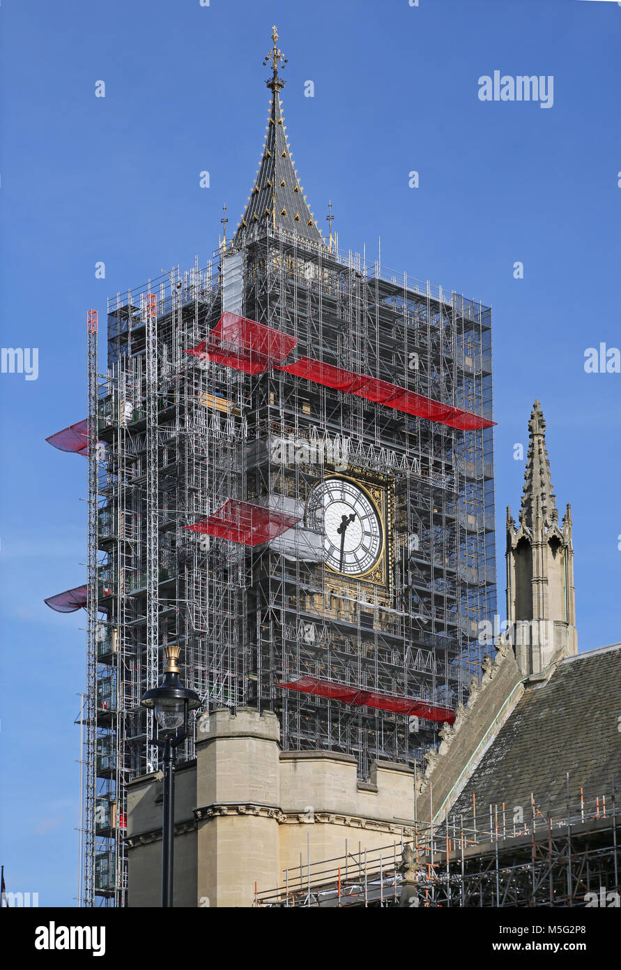 Big ben londons famous clock tower surrounded by scaffolding for big ben londons famous clock tower surrounded by scaffolding for major refurbishment work march 2018 southern clock face still exposed malvernweather Images