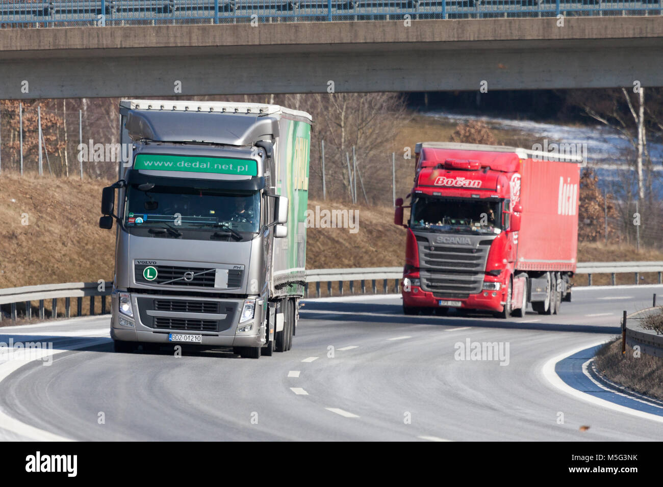 FUERTH / GERMANY - FEBRUARY 22, 2018: truck from a czech forwarder drives on german motorway Stock Photo