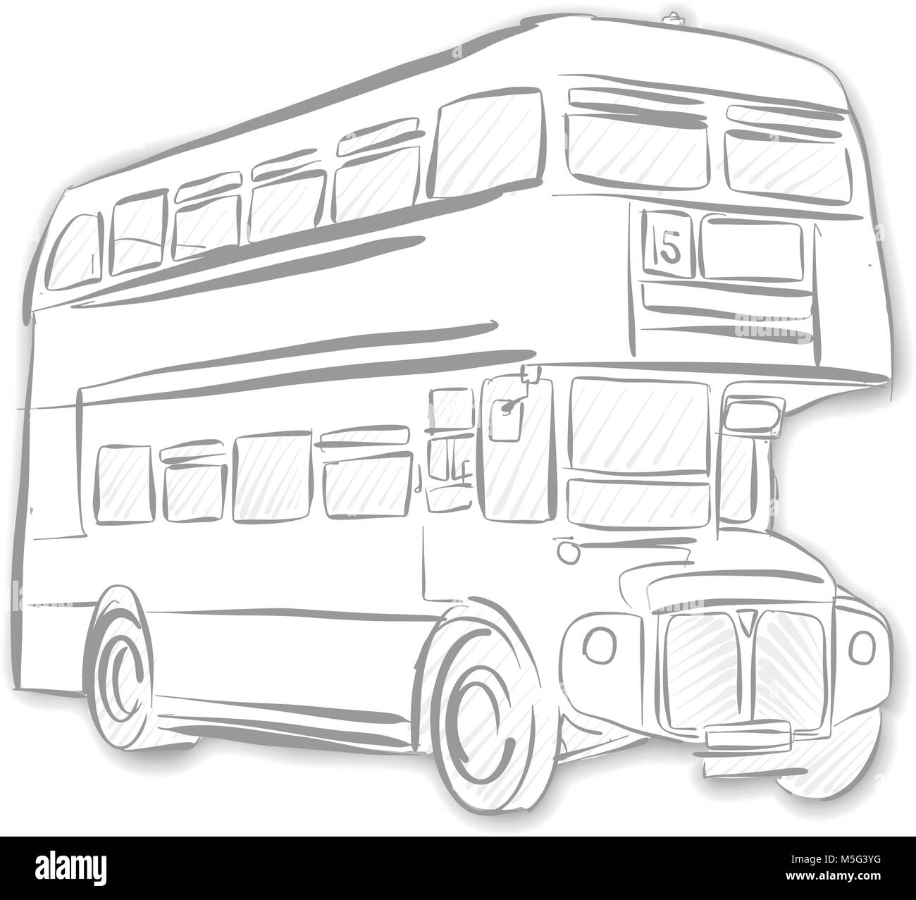 London Bus Black And White Sketch Line Art Drawing By Hand Travel