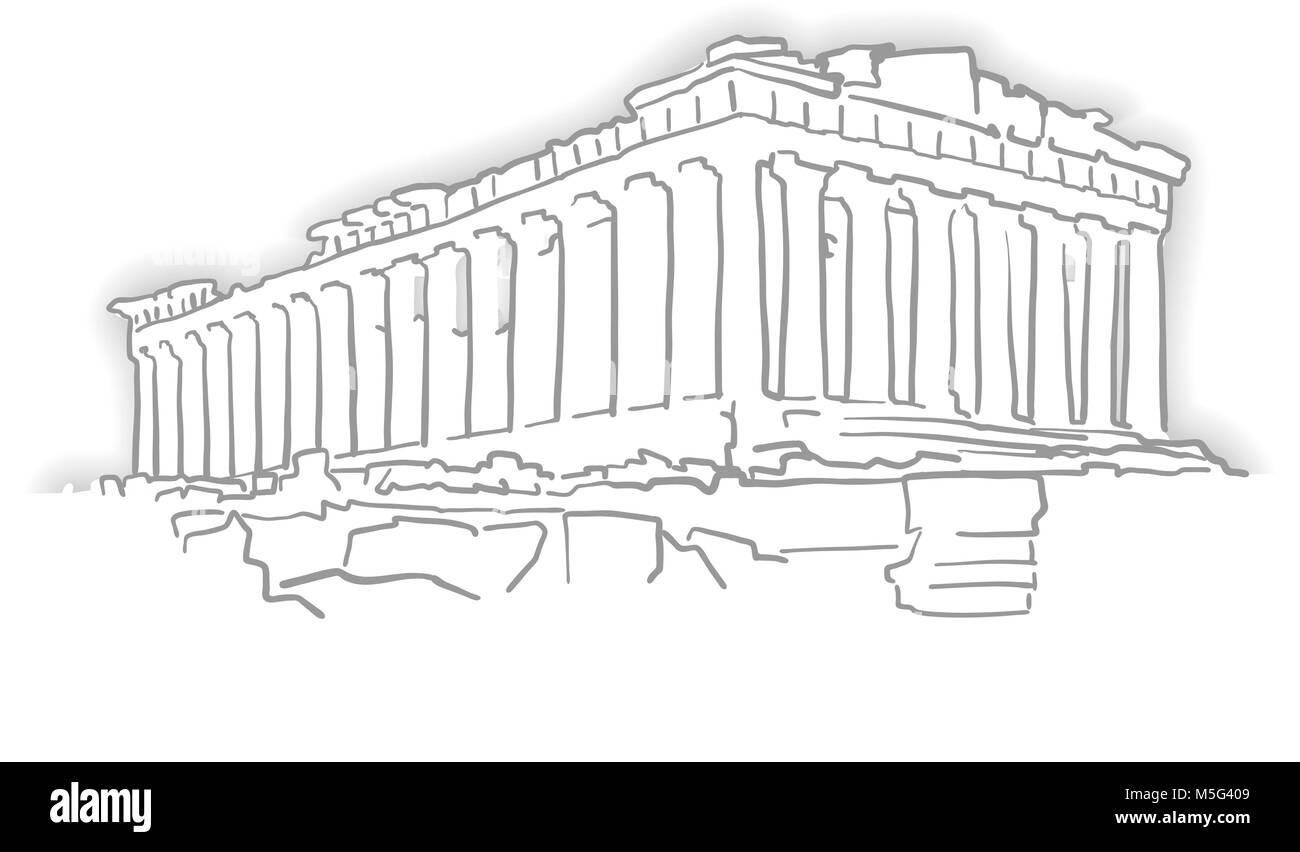 Greece Acropolis Temple Sketch. Line Art drawing by hand. Travel design, architecture icon for greeting card, vector - Stock Image