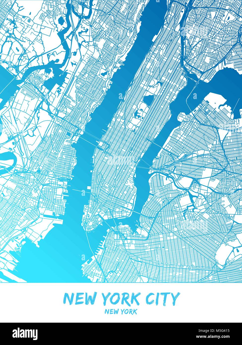 Map Of New York With Landmarks.New York City Downtown And Surroundings Map In Blue Shaded Version