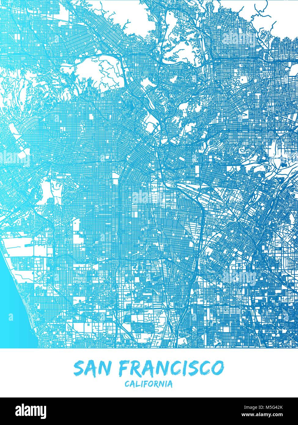 Los Angeles downtown and surroundings Map in blue shaded version