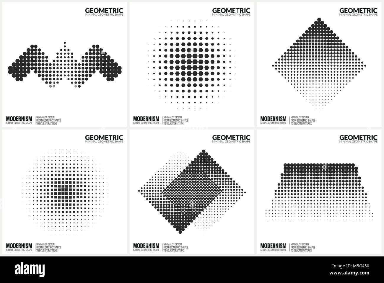 Universal Halftone Geometric Shapes For Design  - Stock Image