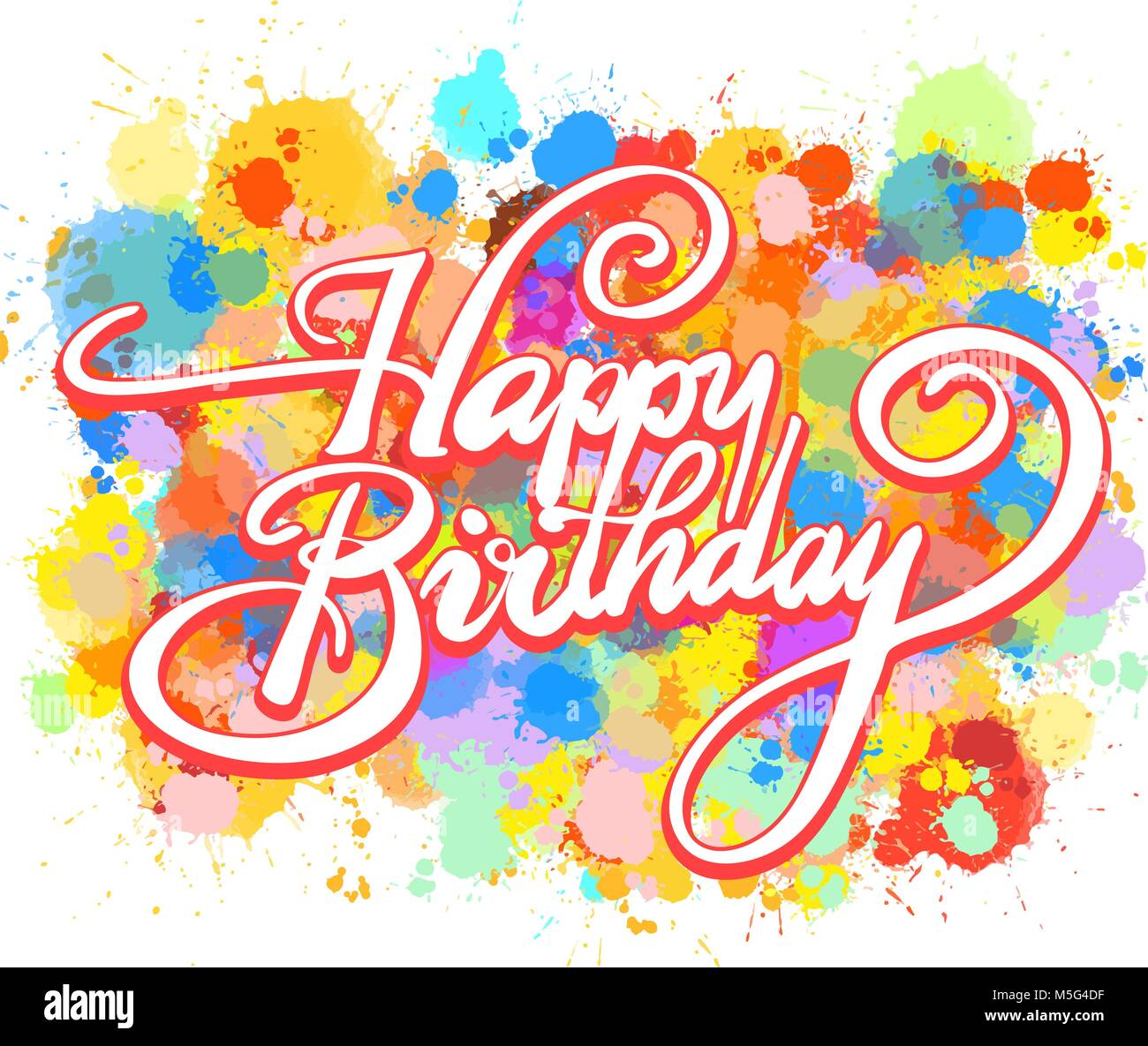 Happy Birthday Word Hand Lettering Colorful Vector Artwork Concept Ready For Poster Print And Greeting Card Design
