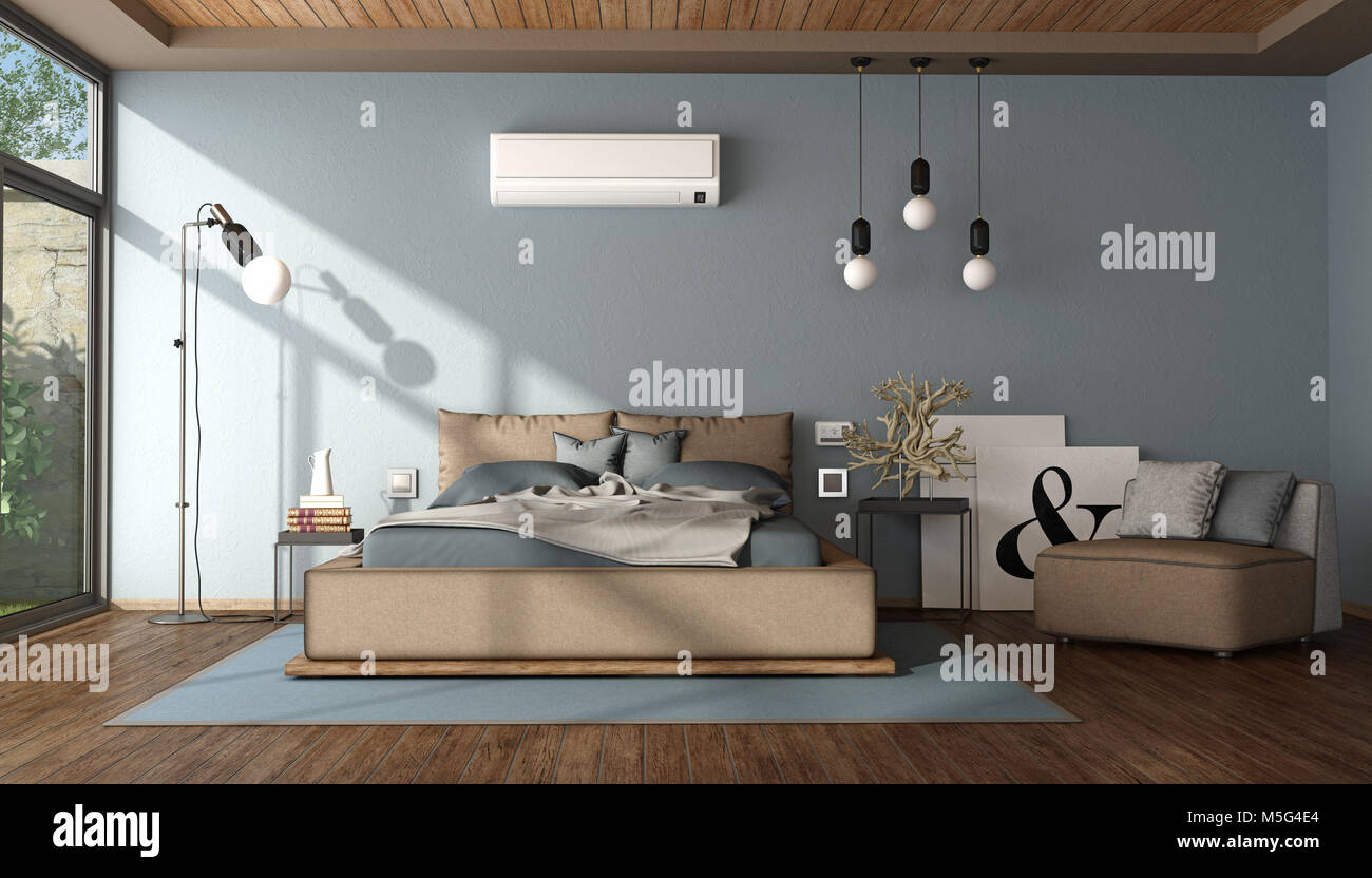 Modern blue and brown master bedroom with air conditioner ...