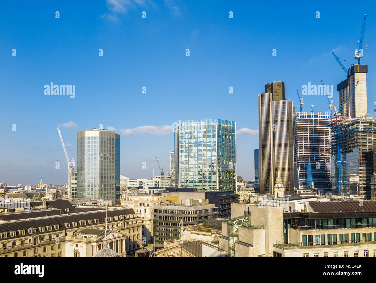 View of City of London Skyline: Angel Court, Stock Exchange Tower, Tower 42, under construction: 100 & 22 Bishopsgate - Stock Image