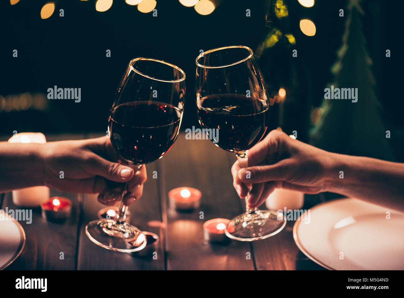women clinking glasses over served table - Stock Image