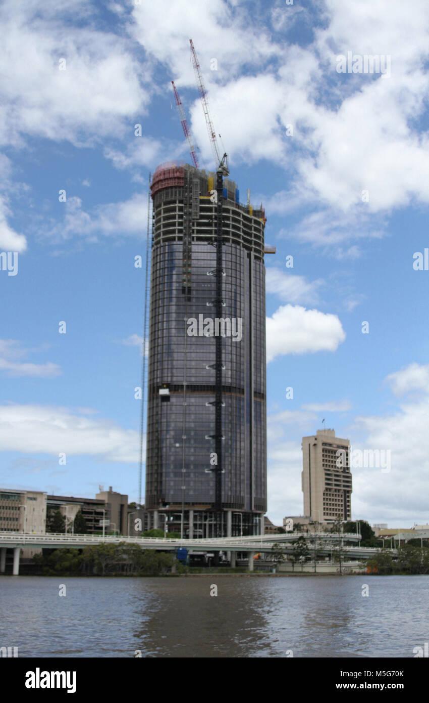 Construction of a office building ,Brisbane CBD, Brisbane, Australia - Stock Image
