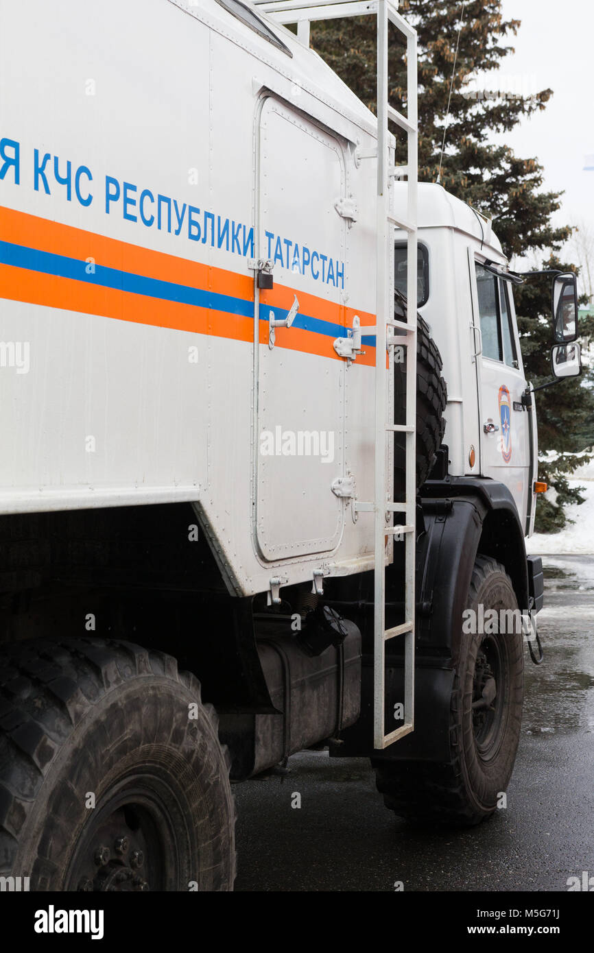 Kazan, Russia - February 21, 2017: Truck of Ministry Emergency Situations of Russia in Tatarstan Republic - rescue - Stock Image