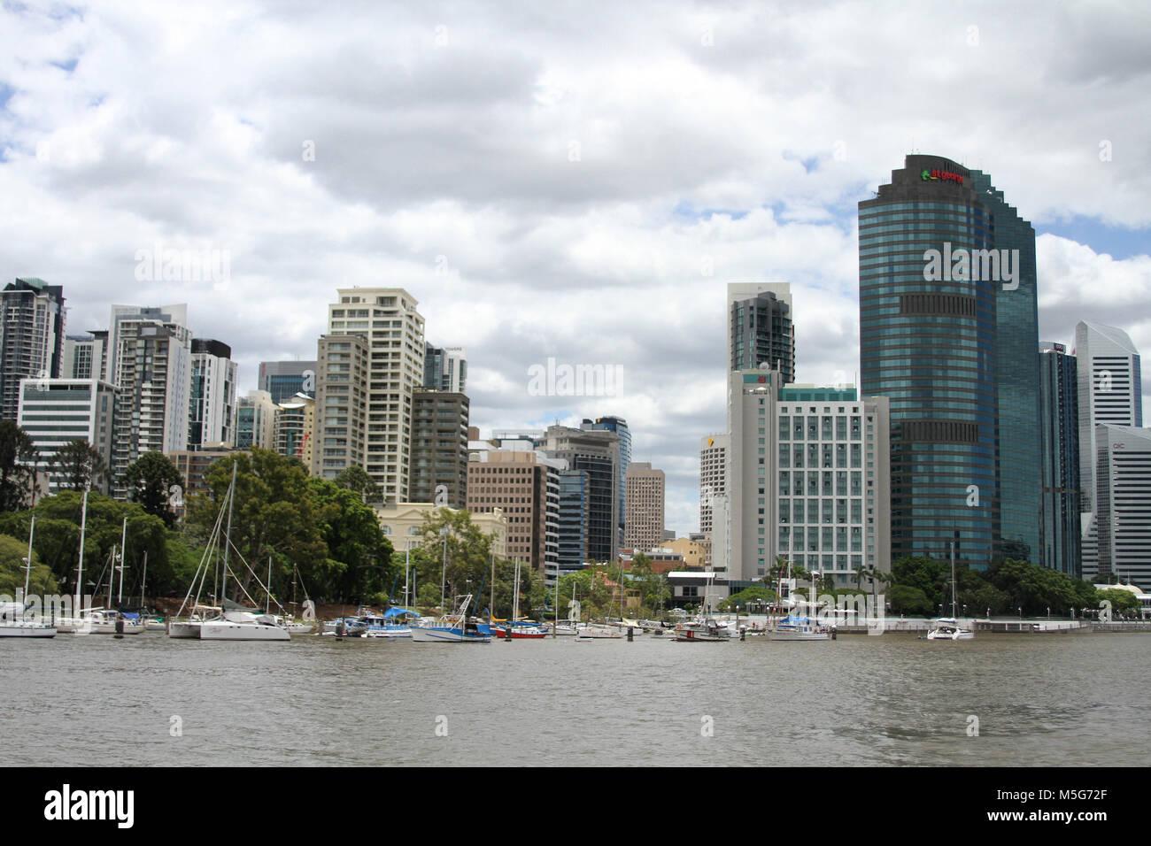 Cityscape of Brisbane CBD with Brisbane River in the foreground, Brisbane, Australia - Stock Image