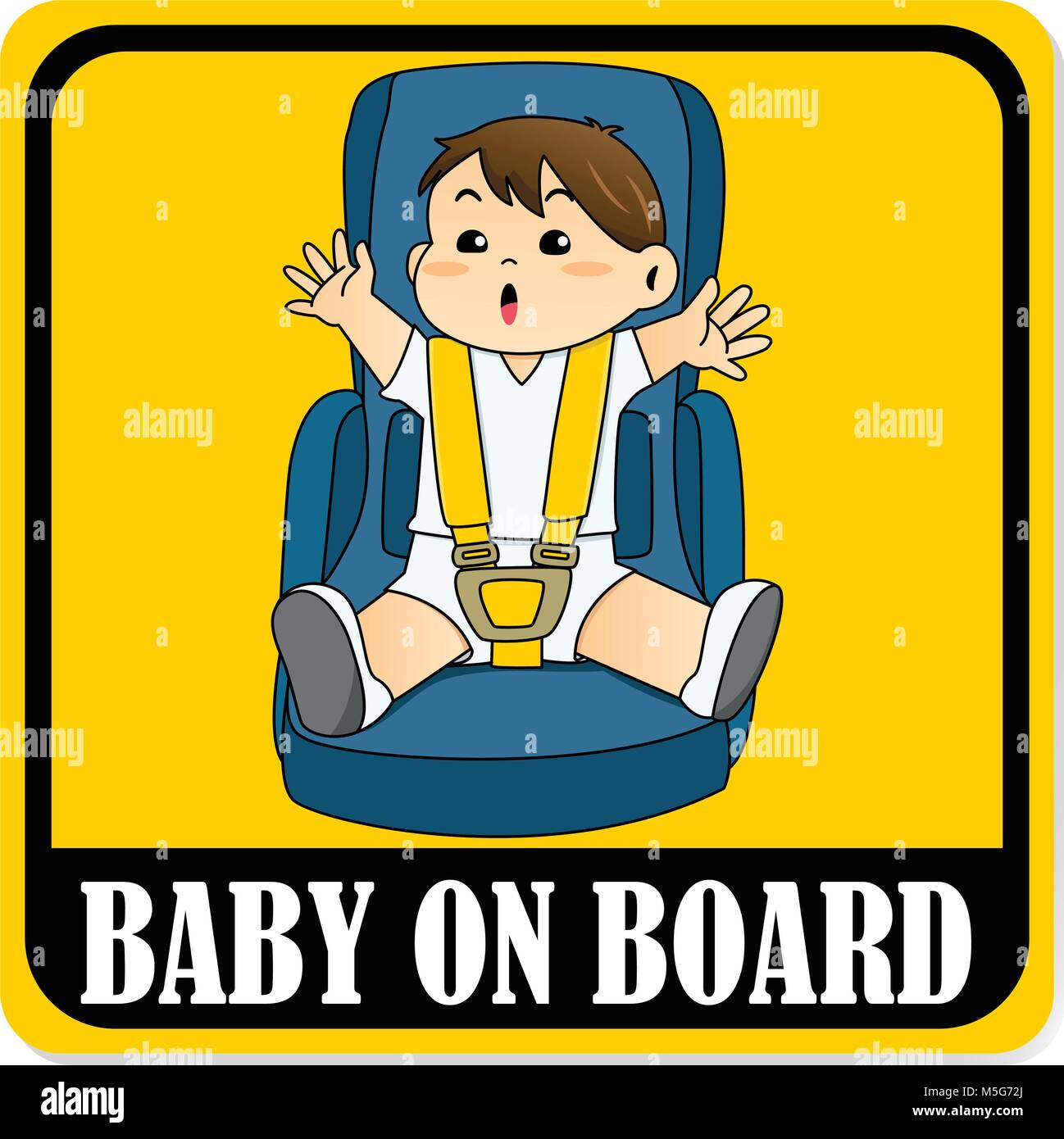 Baby on board sign, Baby boy sitting on car seat and wearing seat belt - Stock Vector