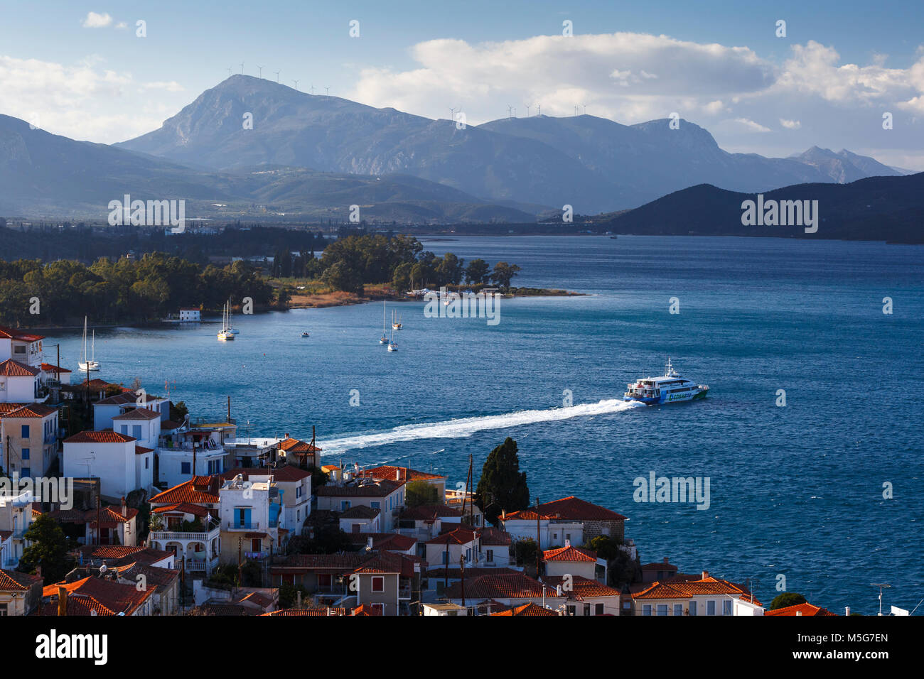 View of the Chora village of Poros island from a nearby hill, Greece. - Stock Image