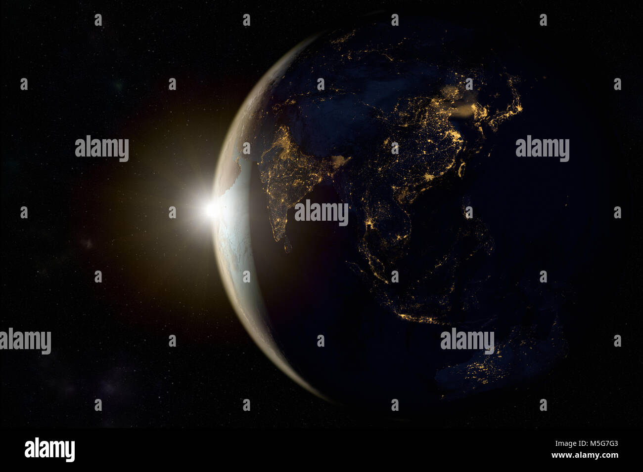 3D rendering of a sunrise on earth from space - Stock Image
