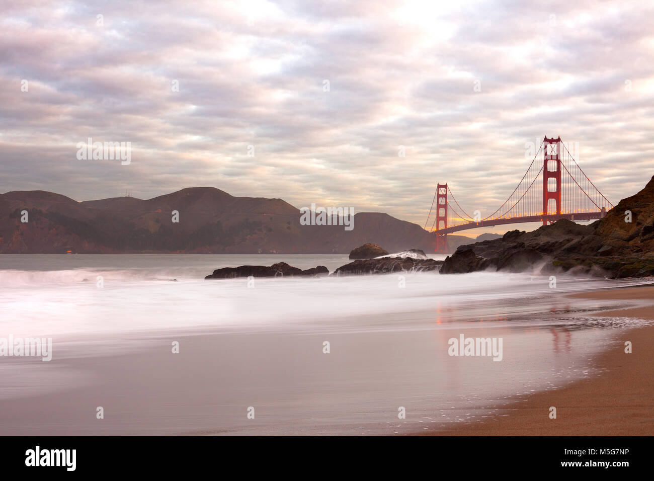 Golden Gate Bridge from Baker Beach, San Francisco, California, USA - Stock Image