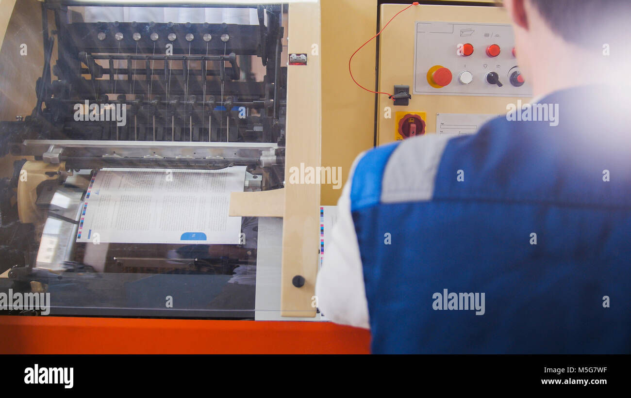 Working printing machine, polygraph industry - Stock Image