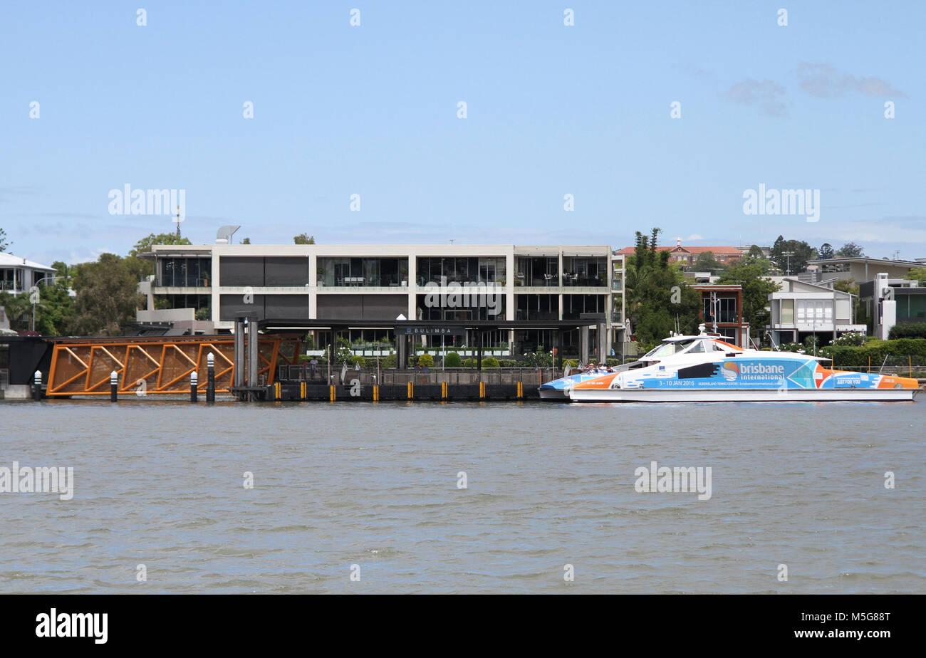 Bulimba ferry terminal, Brisbane river, Brisbane, Australia - Stock Image